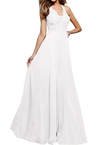 Hochwertig Promkleider Neck Ivydressing Weiß Ballkleider Lang Neu V Abendkleider Spitze ROnqndw8