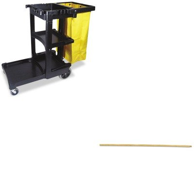 KITBWK121RCP617388BK - Value Kit - Boardwalk Threaded End Broom Handle (BWK121) and Rubbermaid Cleaning Cart with Zippered Yellow Vinyl Bag, Black (RCP617388BK) by Boardwalk