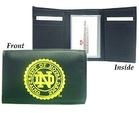 Rico Industries NCAA Notre Dame Fighting Irish Embroidered Genuine Leather Trifold Wallet