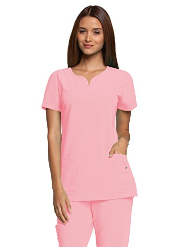 Grey's Anatomy Signature 2121 Notch Neck Top Rose Blush M