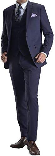 【MARUTOMI】スーツ メンズ スリーピース 2ツボタン 春夏 秋冬 スリム スタイリッシュ 3ピース 洗えるパンツウォッシャブル suit 【 スーツハンガー付属】 AC96
