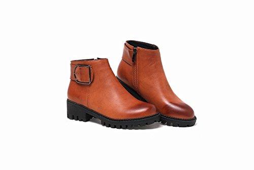 Mee Shoes Damen chunky heels Plateau Reißverschluss ankle Boots Gelbbraun
