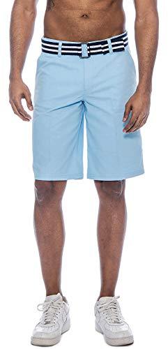 TR Fashion Men's Bahamas Belted Walking Shorts (Sky Blue, 32)