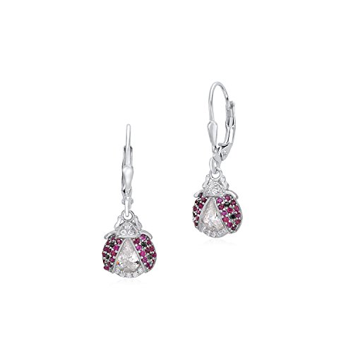 Sterling Silver 925 Large Ladybug Dangle Leverback Earrings with Red and Black Pave Cubic Zirconia Italy