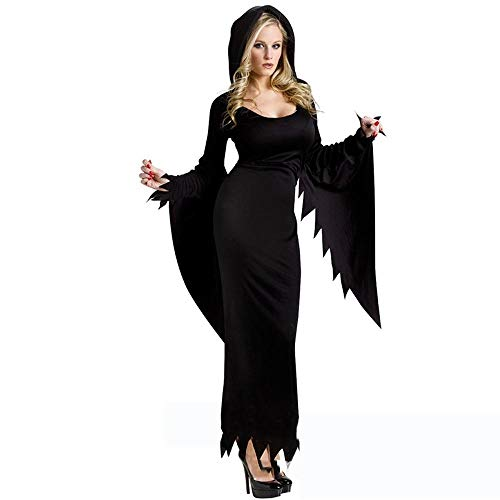 Yunfeng Witch Costume Witch Costume Queen Witch Costume Gothic Banshee Spider Black Vampire Maxi Dress ()