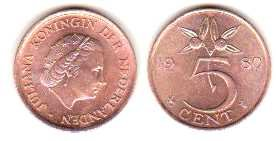 Borderline Uncirculated 1980 Netherlands 5 Cent - Piece Uncirculated Coin 5