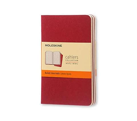Moleskine Cahier Journal (Set of 3), Pocket, Ruled, Cranberry Red, Soft Cover (3.5 x 5.5) - Slim Pocket Diary