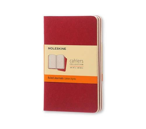 Moleskine Cahier Journal (Set of 3), Pocket, Ruled, Cranberry Red, Soft Cover (3.5 x 5.5)
