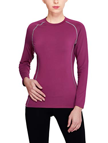 Women's Fleece Lined Thermal Top Women Winter Gear Compression Shirt Baselayer Long Sleeve Shirts (Purple, Medium)