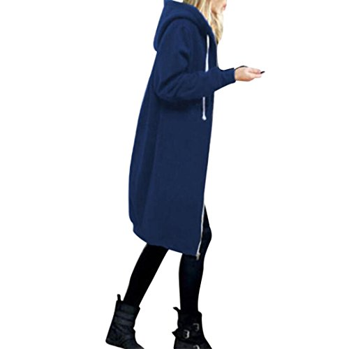 Women Zipper Coat Among Warm Hoodies Slim Sweatshirt Long Solid Pocket Jacket Windproof Tops Outwear Blouse Clothes (L, Blue)