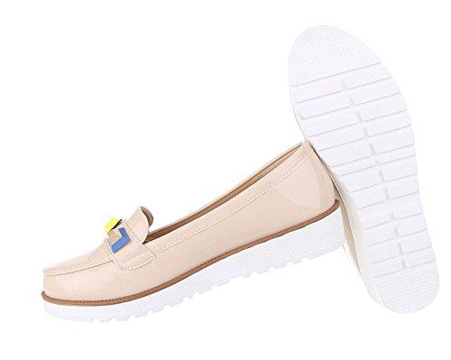 Damen Halbschuhe Schuhe Moderne Slipper Beige