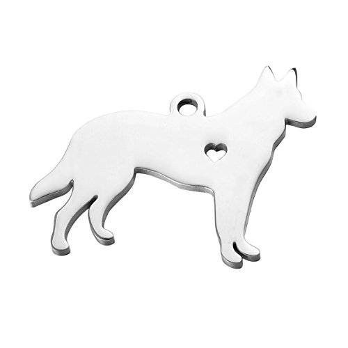 Dog German Charm Shepherd (HooAMI Stainless Steel German Shepherd Dog Charm Pendant,Silver Tone)