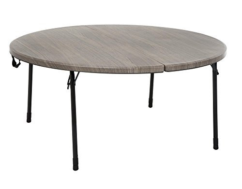 Cosco 14165LGW1E 48 in. Round Fold in Half Table, Light Gray Wood Grain
