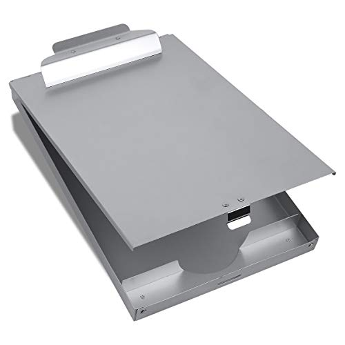 Folder Aluminum (Metal Clipboard with Storage Form Holder Portfolio Aluminum Metal Binder with High Capacity Clip Posse Box Self Locking Latch -14 x 9.5 inch Size Clipboard for Office Business Professionals Stationer)