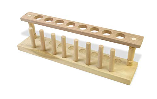 American Educational 7-2202 Wooden Test Tube Rack with Drying Pins, 8 Holes, 22mm Diameter
