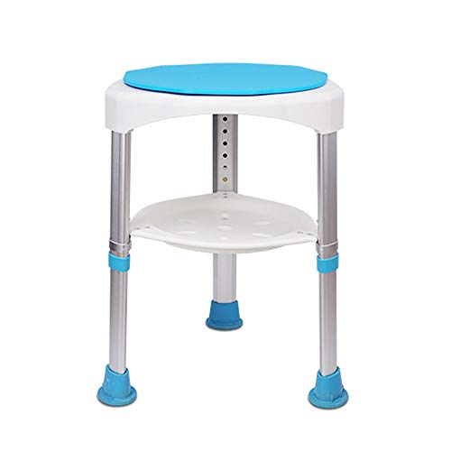 (Amhuui Rotary Round Shower Chair with Drain Tray, Shower Lift Chair Bath Bench Supports up to 160kg for Elder, Pregnant Woman,LightBlue)