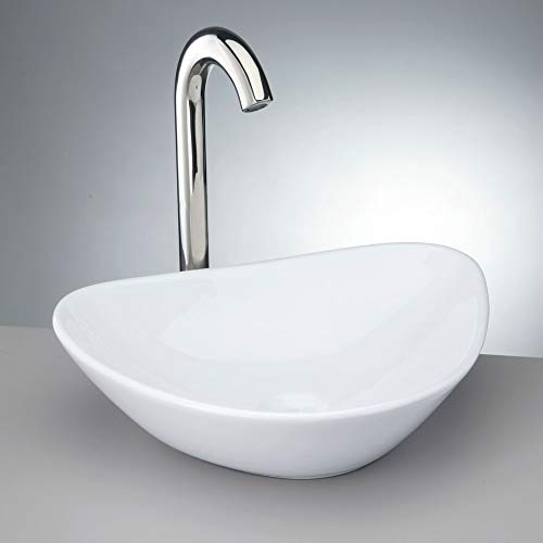 Krone KVS-140 White Porcelain Vessel Sink