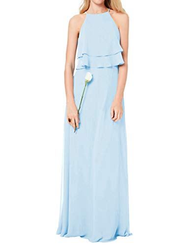 Bridesmaid Dress Evening Prom Gown Chiffon Halter Long Flowy Ruffle Simple Maxi Light Blue US16W