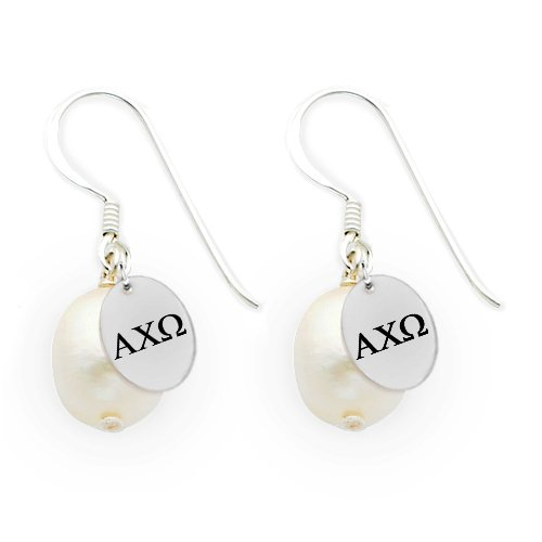 Omega Pearl Ring (Alpha Chi Omega Sterling Silver Cultured Freshwater Pearl Drop Earrings)
