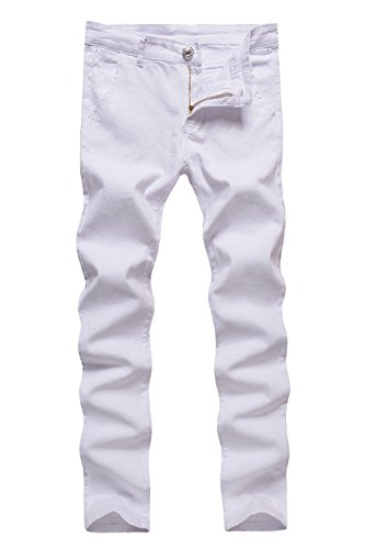 IA ROD CA Men's Skinny Stretch Straight Tapered Leg Fashion Slim Fit White Jeans Pants W30