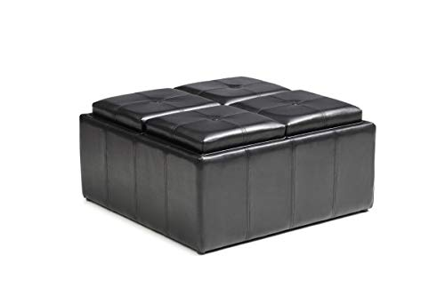 Hodedah HI1186 Black Double Ottoman, (Double Storage Ottoman With Tray)