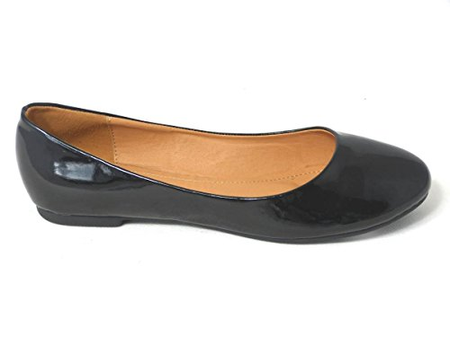 Ladies Flat Ballet Ballerina Pumps Womens Work Office School Formal Dolly Shoes Size Black Patent (101-4)