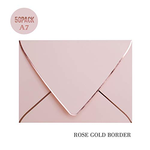 A7 Pink Envelopes with Rose Gold Border 5 x 7 - V Flap, Quick Self Seal, for 5x7 Cards| Perfect for Weddings, Invitations, Photos, Graduation, Baby Shower (Pink-Rose Golden Border) for $<!--$19.99-->