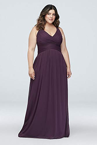 David's W10974 Style Dress Pewter Bridesmaid Bridal Straps Crisscross Long with Back rwrBCFxq