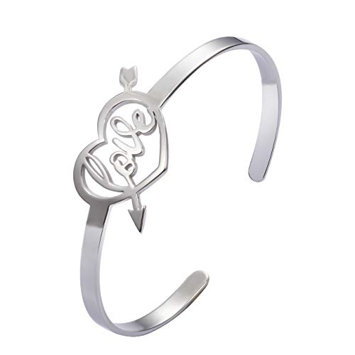 Arrow Through Heart - Classical Stainless Steel an Arrow Through a Heart Open Cuff Bracelet and Bangle for Women Jewelry (Stainless-Steel, Love Heart)