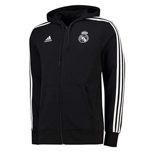 adidas 2018-2019 Real Madrid 3S Hooded Zip (Black) (Black Real Madrid Jersey Xxl)