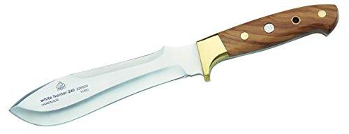 Puma IP Jagdmesser White Hunter 240, Stahl 1.4125, Olivenholz-Griffschalen, Messingbacken, braune Lederscheide