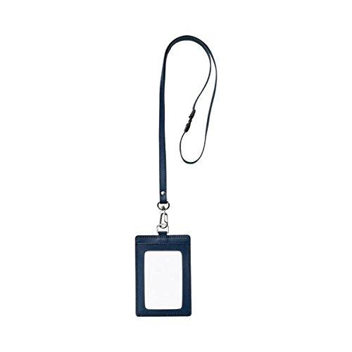 日用品 カードケース 関連商品 本革製ネームカードホルダー タテ型 ストラップ付 ブルー RLNH-S-B 1個 【×5セット】 B076TRV97W