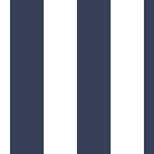"Manhattan comfort NWSH34555 Glasgow Series Vinyl Stripe Design Large Wallpaper Roll, 20.5"" W x 32.7' L, Navy Blue/White"