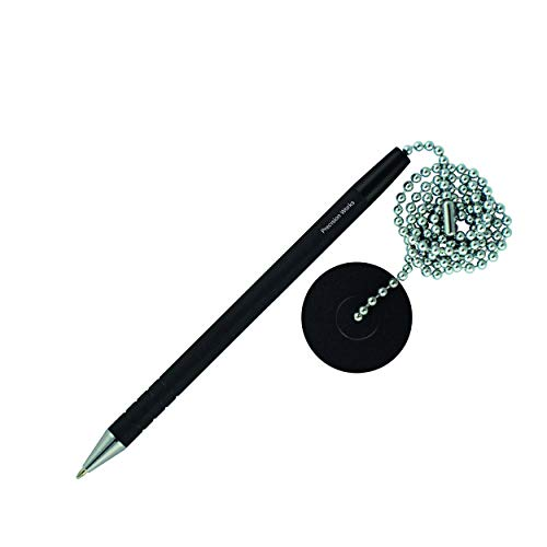 Secure Counter Pen With Adhesive Base & Metal Chain - Black Ink - Medium Point (10 Pack) by Precision Works (Image #3)
