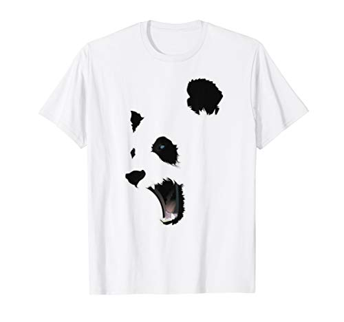 Angry Halloween Panda Bear Face T-shirt Costume Mens Gift -