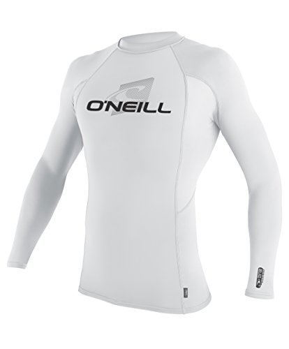 O'Neill Wetsuits UV Sun Protection Mens Skins Long Sleeve Crew Sun Shirt Rash Guard,  White/White/White,  - Rash Crew Long Sleeve Guard