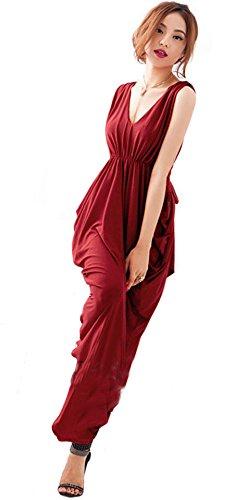 近々接続詞シーケンスKimBerley マキシ Vネック ノースリーブ ドレープ ロング ナイトドレス ワンピース セクシー パーティー キャバ嬢 M キャバドレス レディース