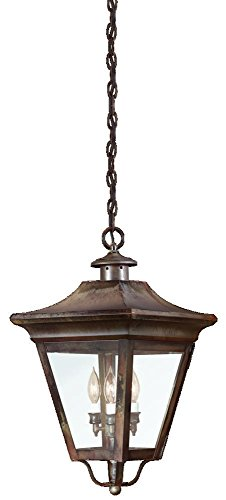 Troy Lighting Oxford 3-Light Outdoor Pendant - Natural Rust Finish with Clear (Natural Rust Troy Lighting)
