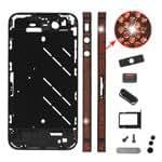 iPhone 4S Metal Middle Plate Faceplates Orange Rhinestones - Black