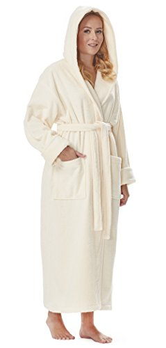 Organic Terry Robe (Arus Women's Organic Cotton Hooded Full Length Turkish Bathrobe, Cream, XL)