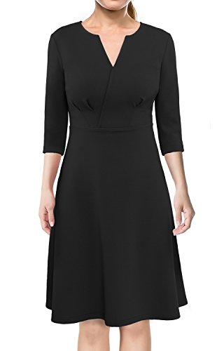 Elegant Dresses, Miurus Women Casual Elastic V Neck 3/4 Sleeves Empire Waist Pleated A line Dress XL Black