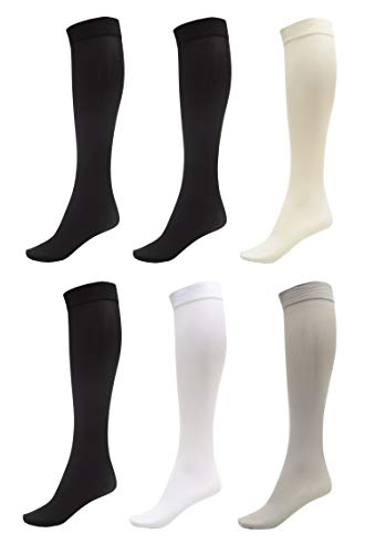 (6 Pack of Women Trouser Socks with Comfort Band Stretchy Spandex Opaque Knee High, 3 Black, 1 Silver, 1 White, 1 Off White)