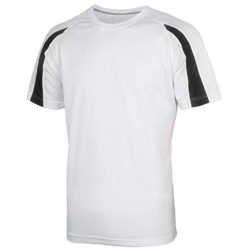 Just Cool Mens Contrast Cool Sports Plain T-Shirt (M) (Arctic White/Jet (Contrast Neck T-shirt)