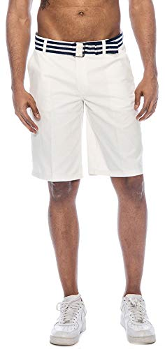 (TR Fashion Men's Bahamas Belted Walking Shorts (Off White,)