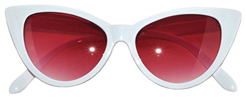 OWL Cat Eye Sunglasses White Red Smoke - Lenses Sunglass Contact