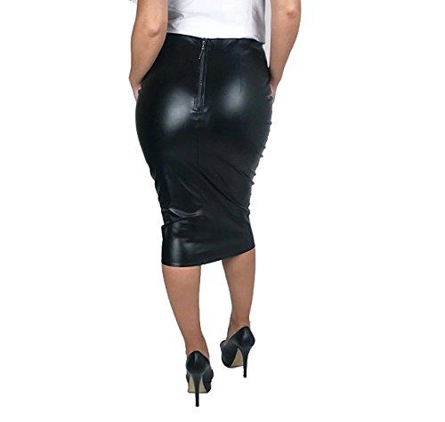 Masemu Kleid Lederkleid Bleistiftkleid Abendkleid Lederlook schwarz rot Gr.34-44