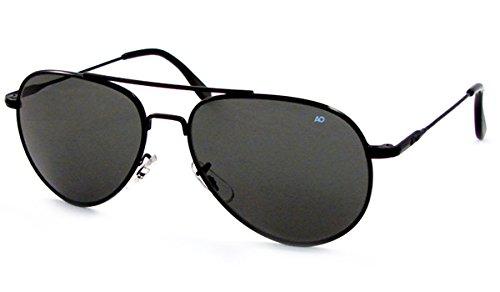 AO Flight Gear General Sunglasses Wire Spatula Black Frame True Color Gray Glass Lens 52mm