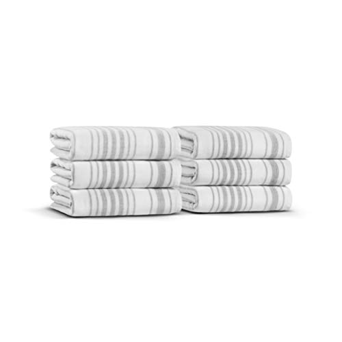 Casual Avenue Stripe Gauze Set of 6 Towels 50x90 cm. (White-Warm Gray)
