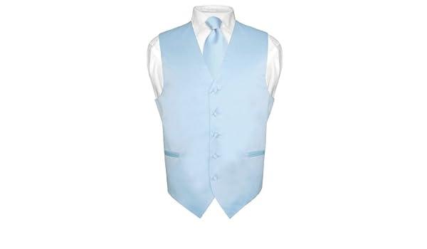 Los hombres del vestido chaleco y corbata sólido azul Color cuello ...