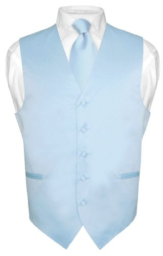 Men's Dress Vest & NeckTie Solid BABY BLUE Color Neck Tie Set sz 3XL